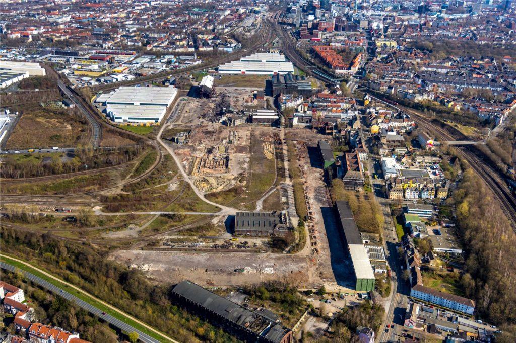"""Das HSP-Gelände aus der Luft: Hier soll das Projekt """"Smart Rhino"""" mit einem neuen Campus für die FH-Dortmund entstehen."""