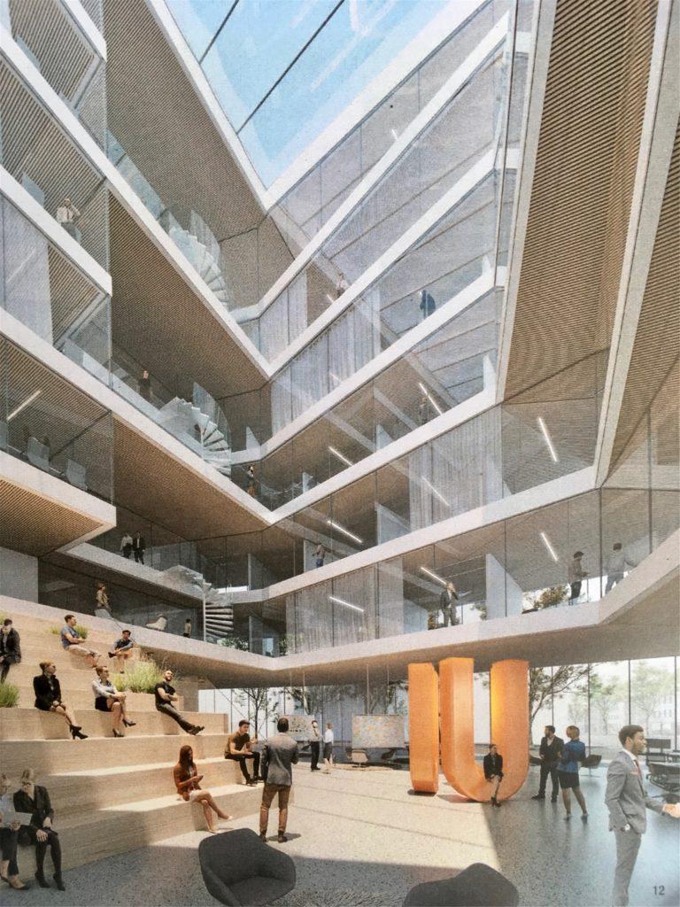 Das Atrium im Bürogebäude am U-Turm soll zum Ort der Begegnung werden.