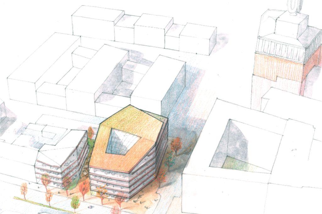 Neben einem schmalen Anbau an die bestehende Häuserreihe an der Rheinischen Straße (l.) soll ein Büroneubau als markantes Solitärgebäude entstehen.