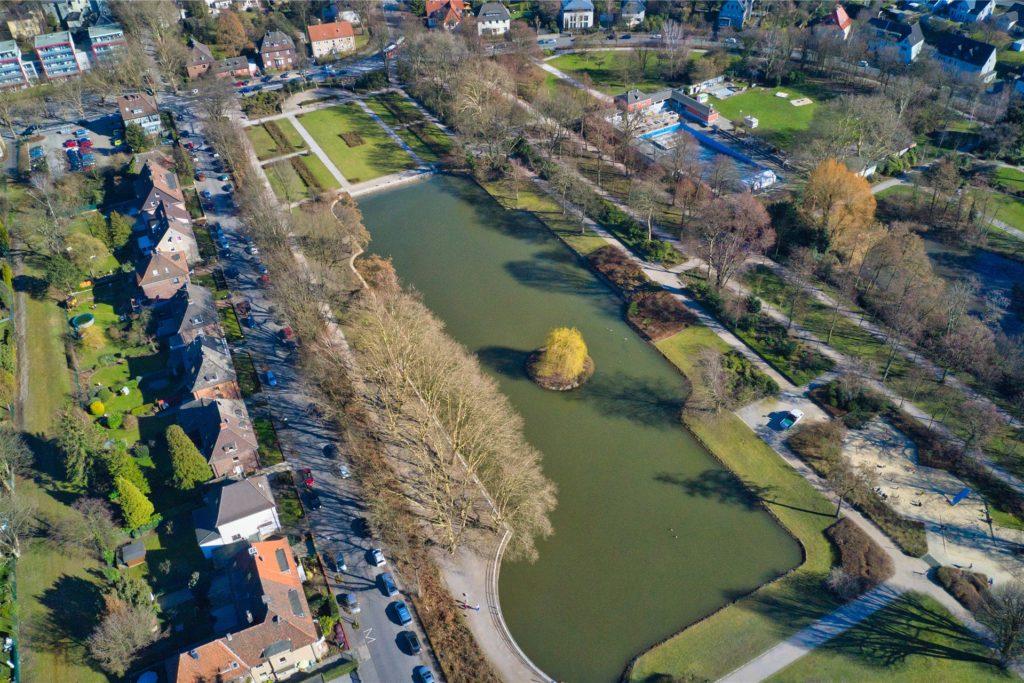 Hier fühlen sich die Gänse wohl: der Stadtgarten mit dem großen Gondelteich im Winter aus der Luft.