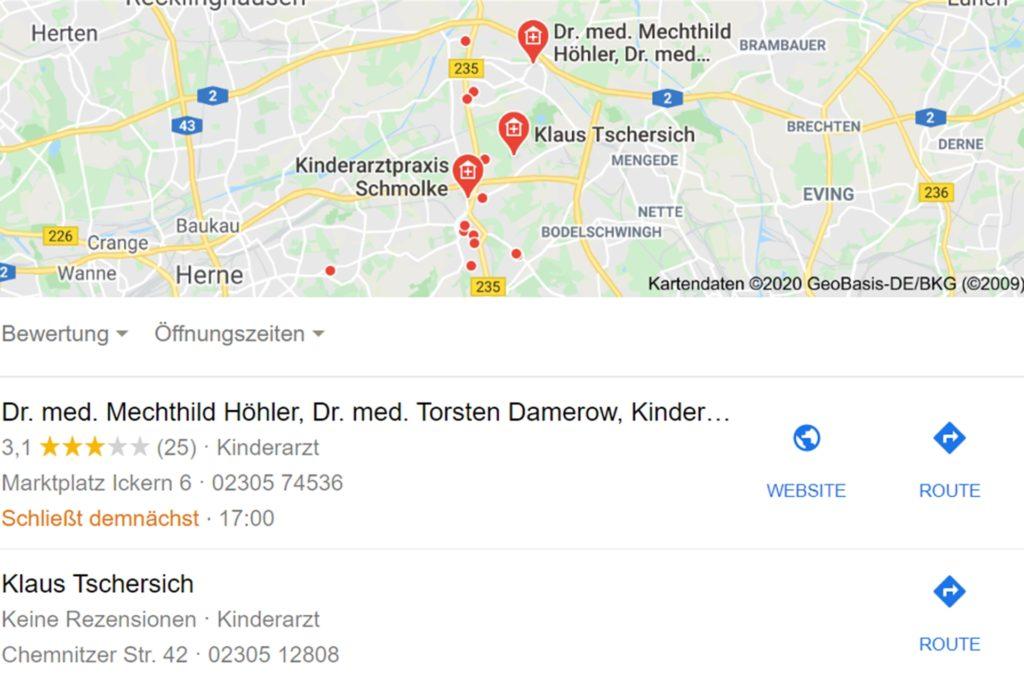 """Googelt man """"Kinderärzte in Castrop-Rauxel"""", findet man bei Google Maps Klaus Tschersich vorgeschlagen, der nach eigenen Angaben ein Arzt ist und nie einer war."""