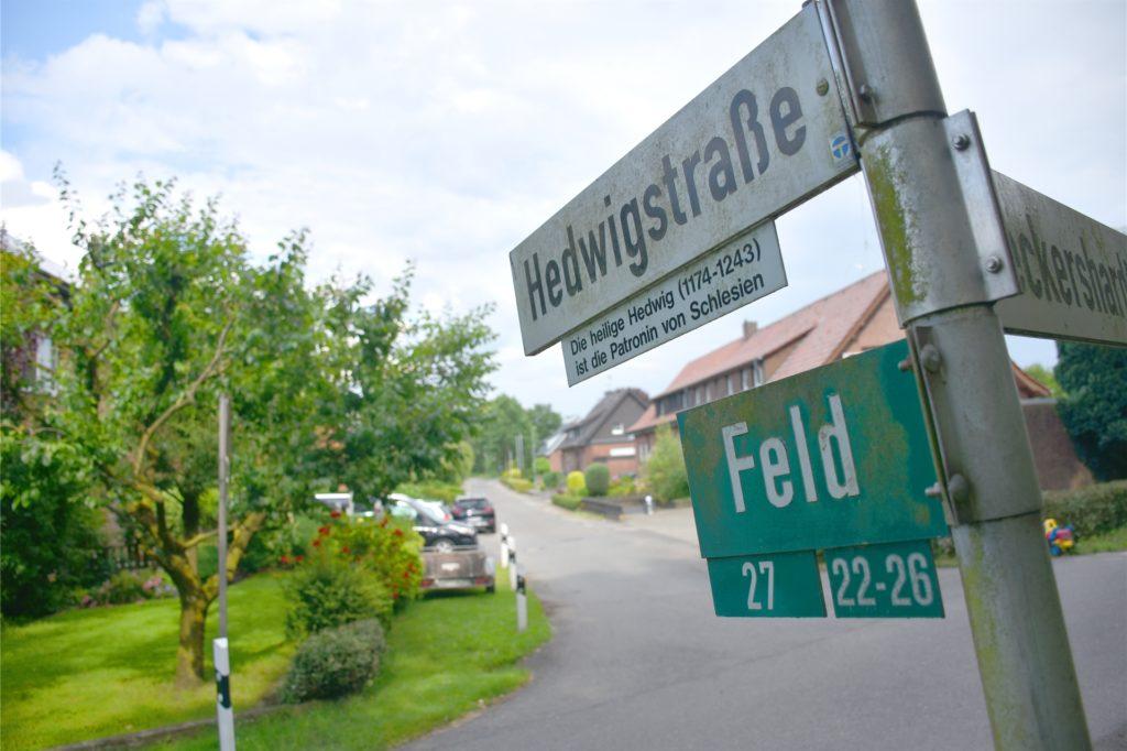 Hedwigstraße oder Feld: Eine Straße, zwei Adressen. Die Gemeindegrenze soll dort verschoben werden. Den Vertrag haben Südlohns Bürgermeister Christian Vedder und seine Borkener Kollegin Mechtild Schulze Hessing schon unterschrieben. Der Kreisausschuss und die Bezirksregierung müssen die Gebietsänderung aber noch prüfen.