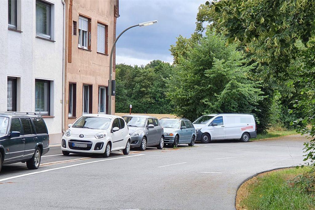 Sonntagabend, 6. Juli: Bewohner parken ihren Firmenwagen im Parkverbot halb vor der Einfahrt zu den Garagen der Anwohner.