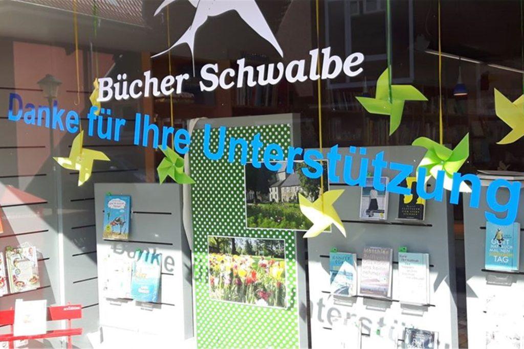 Bücher Schwalbe in Ascheberg bedankt sich für die Unterstützung ihrer Kunden während der Corona-Krise.