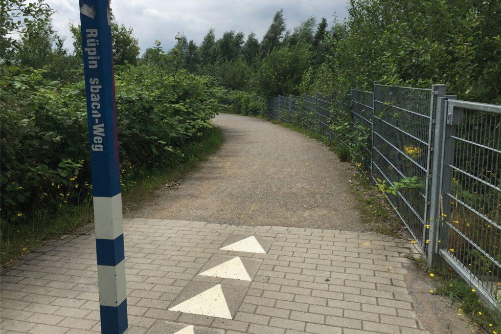 """Der """"Rüpingsbachweg"""": Er führt entlang der renaturierten Emscher. Zwischen dem Bach und der Bahnlinie liegt das Grabeland."""