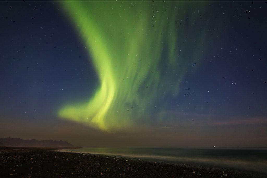 Polarlicht Jökursarlon: Polarlichterscheinung auf Island