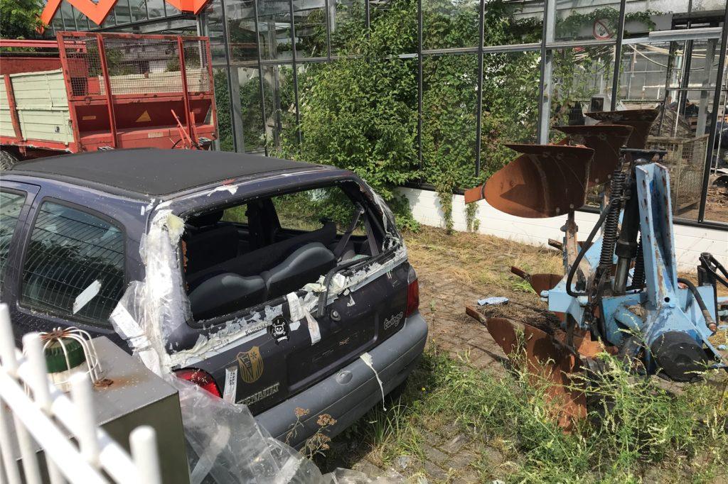 Ausgeschlachtete Autos, überwuchertes Pflaster, kaputte Dächer: Das Gelände an der Herner Straße ist ein echter Schandfleck.