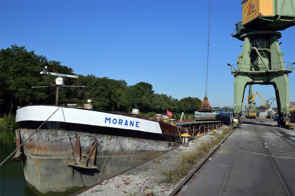 Das betroffene Schiff nach dem Einsatz.