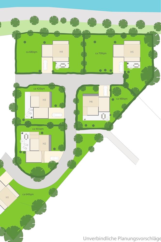 So sieht der Plan für die sechs Einfamilienhäuser am Kanal auf der Hardt aus.