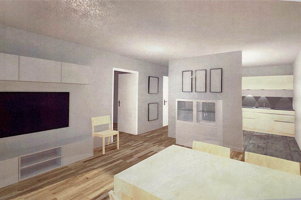 So soll eine Ein-Personen-Wohnung nach Abschluss der Bauarbeiten aussehen.