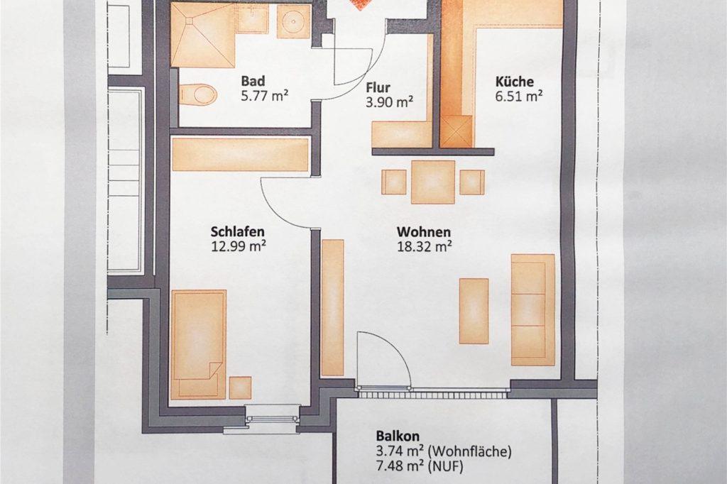 Ein Beispiel, wie eine Ein-Personen-Wohnung im neuen Gebäude aufgeteilt sein könnte.