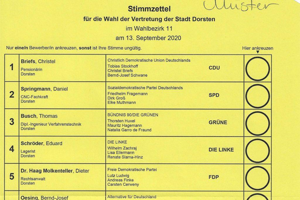So sieht der gelbe Stimmzettel der Kommunalwahl in Dorsten aus. Die Namen in der linken Spalte variieren von Wahlbezirk zu Wahlbezirk.