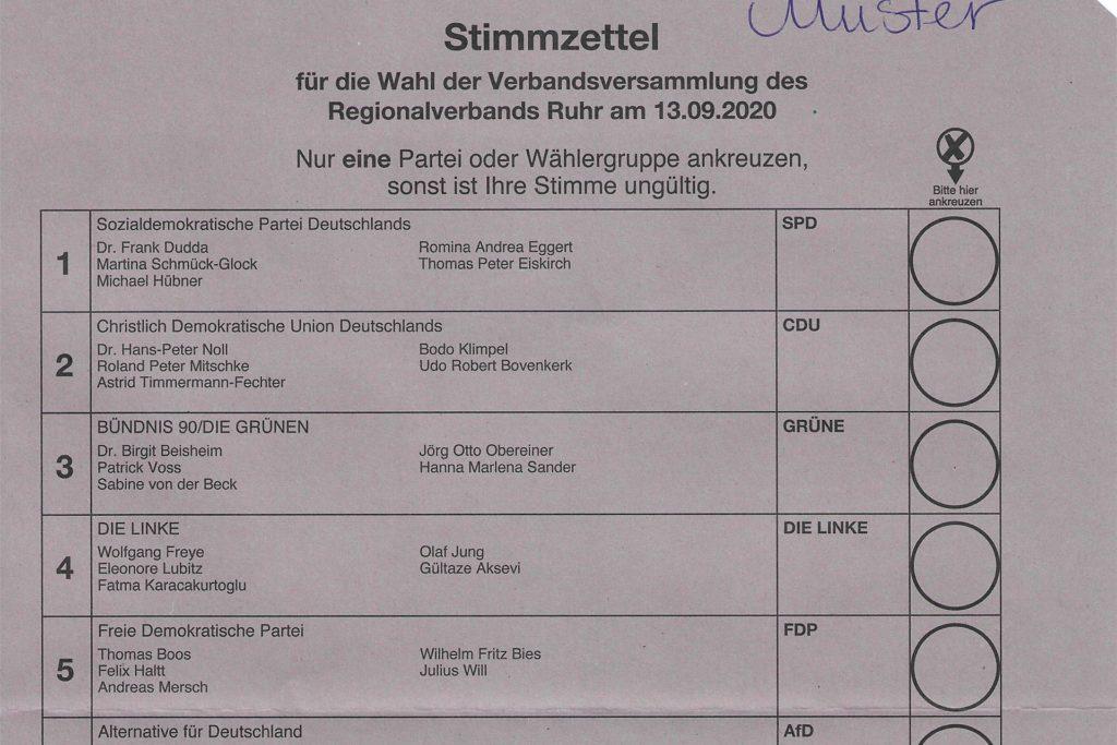 Am 13. September wird erstmals auch das Ruhrparlament gewählt; eine reine Listenwahl.