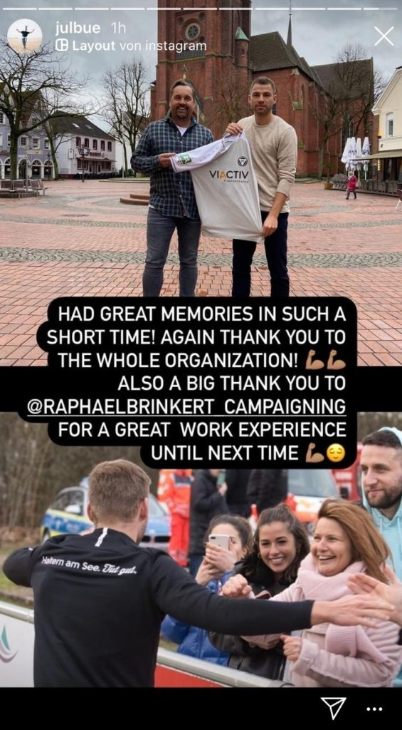 In einem weiteren Instagram-Beitrag betont Julian Büscher noch mal, wie toll die Zeit beim TuS Haltern gewesen sei und bedankt sich beim gesamten Verein.