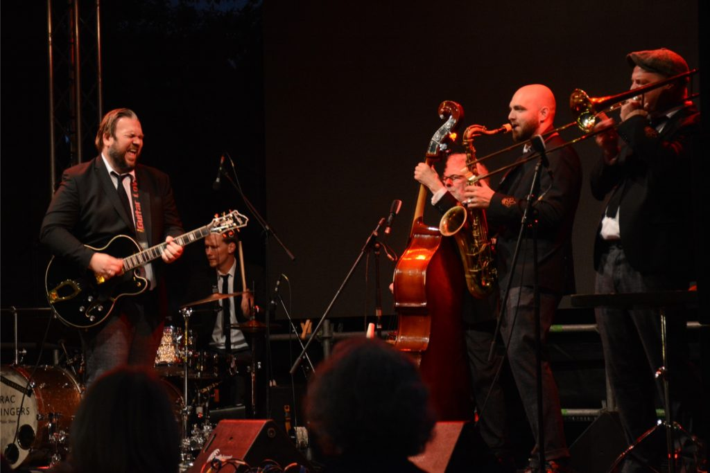 The Sazerac Swingers begeisterten ihr Publikum im Schlossbiergarten mit swingendem New Orleans Jazz.
