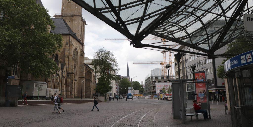 Hier am Reinoldipylon soll der Umbau des zentralen Abschnitts der Kampstraße beginnen.