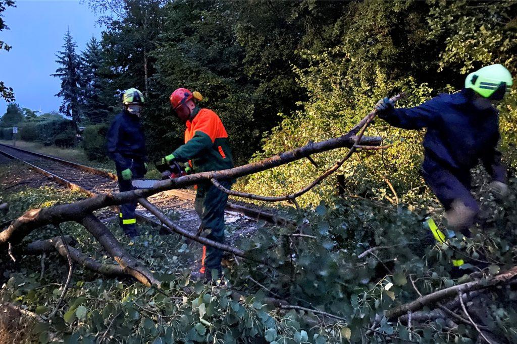 Bei der durch Gewittersturm blockierten Bahnstrecke im Dorstener Norden am 13. August rückten die hauptamtlichen Kräfte ohne Verstärkung aus.