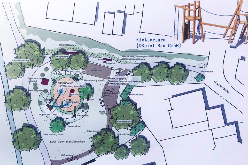Am Spielplatz Goethestraße könnten sich die Planer gut einen Sandbereich mit einer Wasserspielanlage in der Mitte vorstellen. Auch ein Bewegungspfad ist geplant.