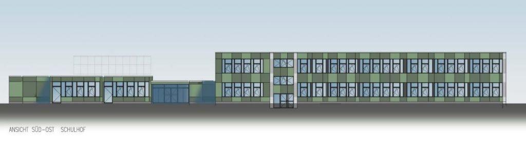Mit zweifarbigen Platten soll die Fassade der St. Felicitasschule saniert werden. Zusätzlich soll die Schalfuge ausgeblasen werden. Auch neue Fenster werden eingebaut. Die gesamte Fassadensanierung soll rund 1,37 Millionen Euro kosten.