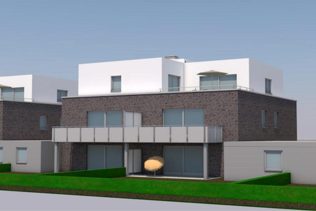 Vier der fünf Mehrfamilienhäuser sollen zweigeschossig mit einem zusätzlichen Staffelgeschoss errichtet werden.