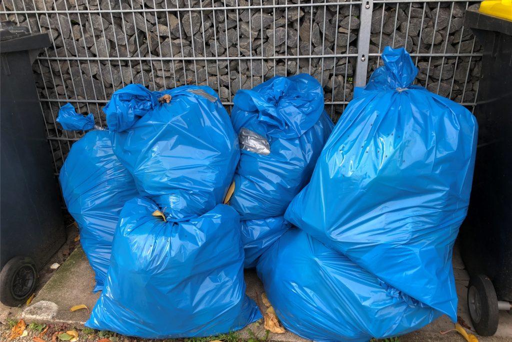 Die Tonnen sind voll. Olaf Schlegel hat den Müll in blaue Säcke gefüllt und hoffte am Montag auf baldige Entsorgung