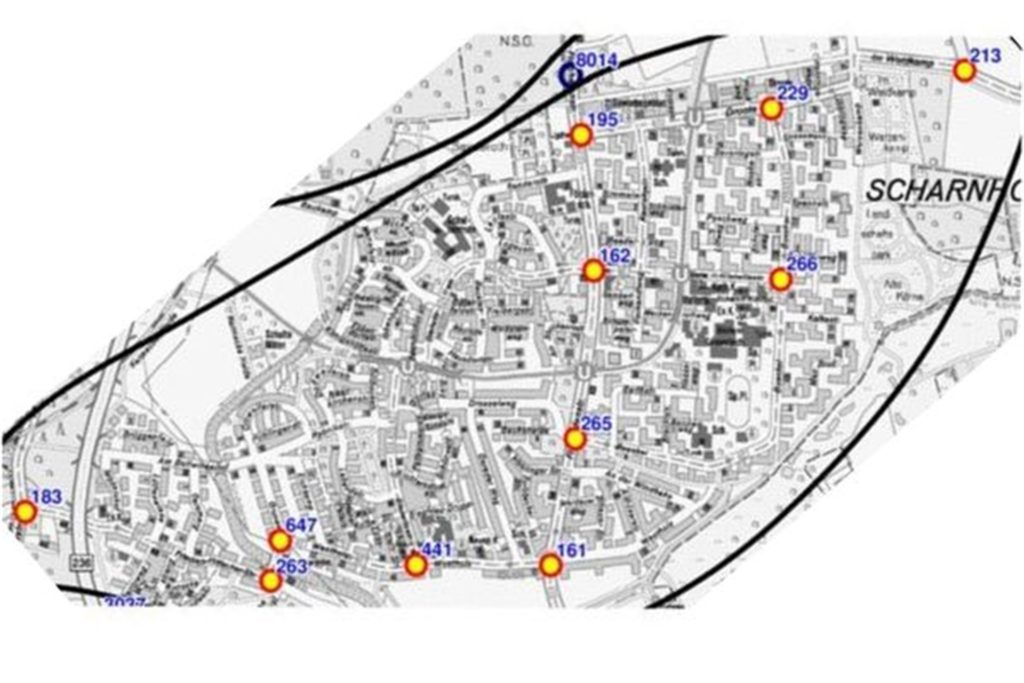 An diesen elf Standorten wurde am 1. Oktober in Scharnhorst der Verkehr gezählt.