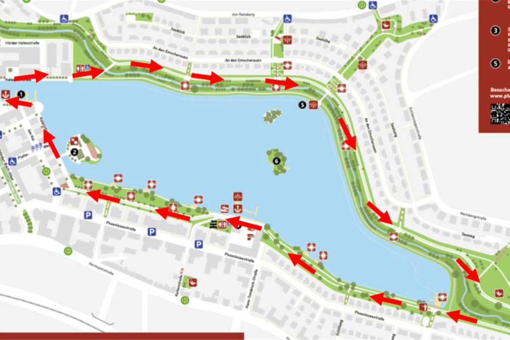 Mit dieser Karte machte die Stadt im April auf die Einbahnstraßen-Regelung am Phoenix-See aufmerksam.