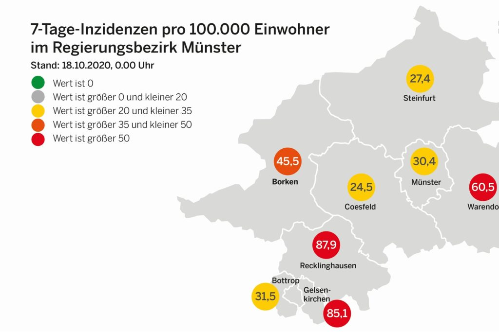 Das sind die aktuelle Inzidenzwerte im Regierungsbezirk Münster.