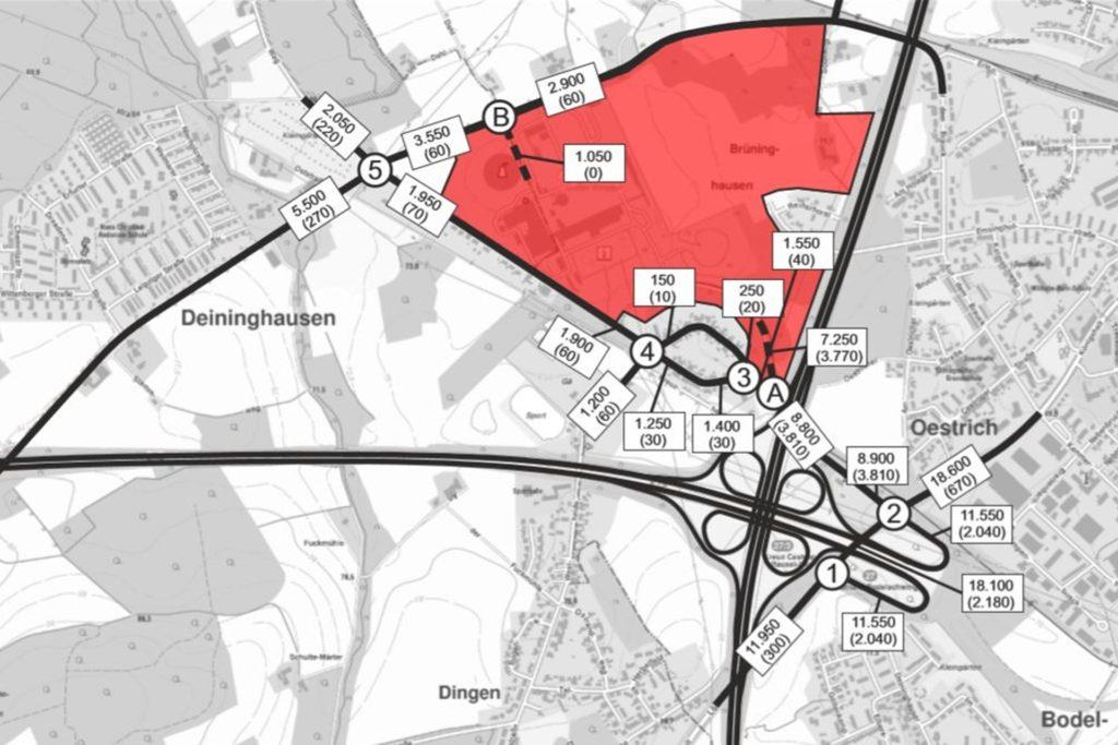 Die Verkehrs-Prognose für das Knepper-Gelände (rot markiert) sieht für den Deininghauser Weg (oben links) 2000 Verkehrsbewegungen, darunter 220 LKW-Fahrten täglich vor.