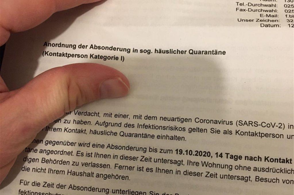 So sieht die Quarantäne-Verfügung aus, die die Stadt Selm an Peter Müller geschickt hat.