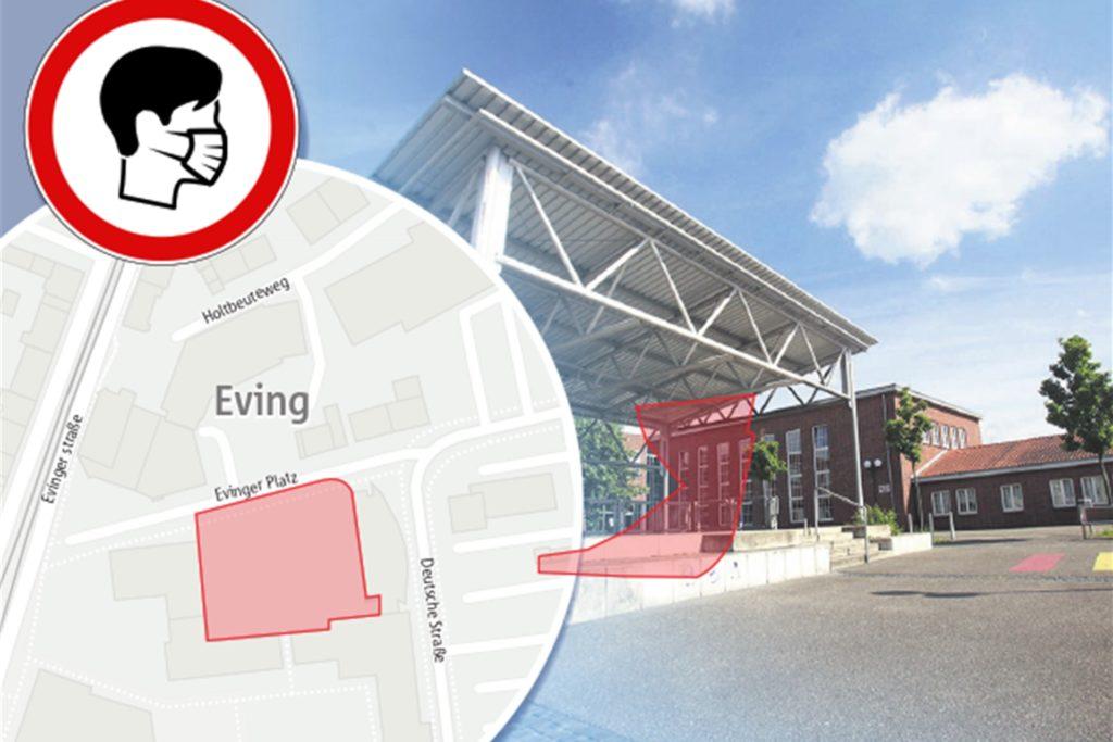 Auf dem gesamten Evinger Platz sind nun alle Bürgerinnen und Bürger verpflichtet, eine Mund-Nase-Bedeckung zu tragen, um das Ansteckungsrisiko zu minimieren. Die Pflicht gilt täglich von 9:30 Uhr bis 18:30 Uhr.