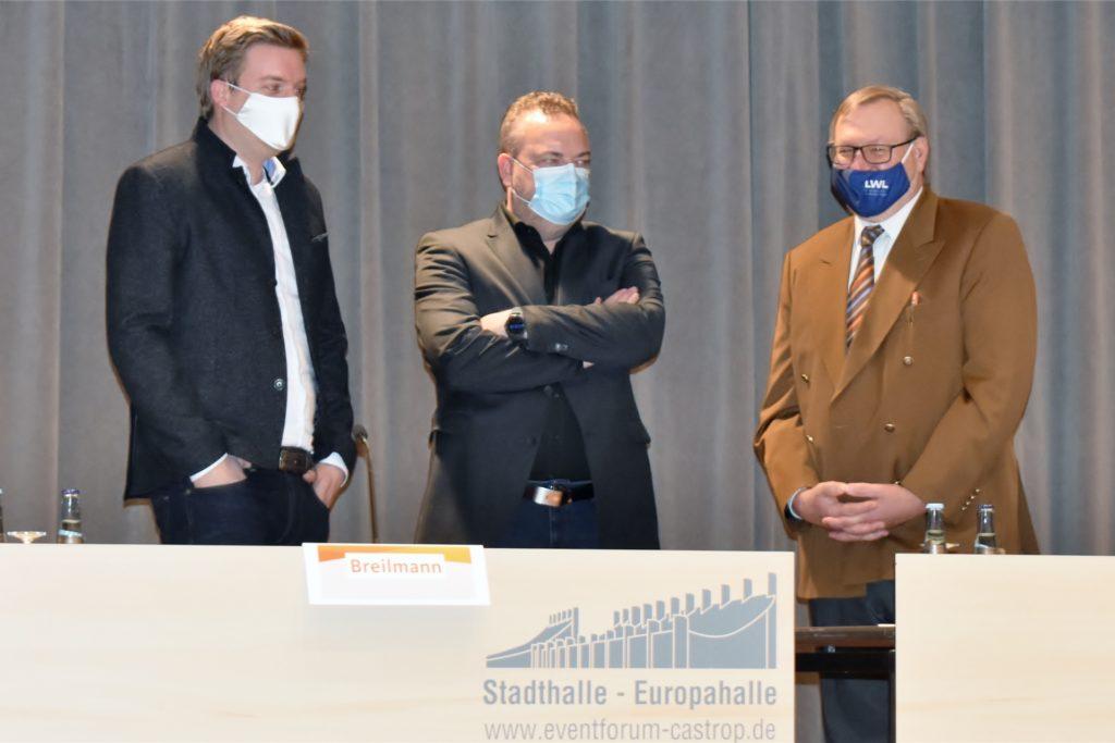 Gespräch unter Corona-Bedingungen (v.l.): CDU-Kreisvorsitzender Michael Breilmann, der designierte Landrat Bodo Klimpel sowie Versammlungsleiter Ludger Samson.