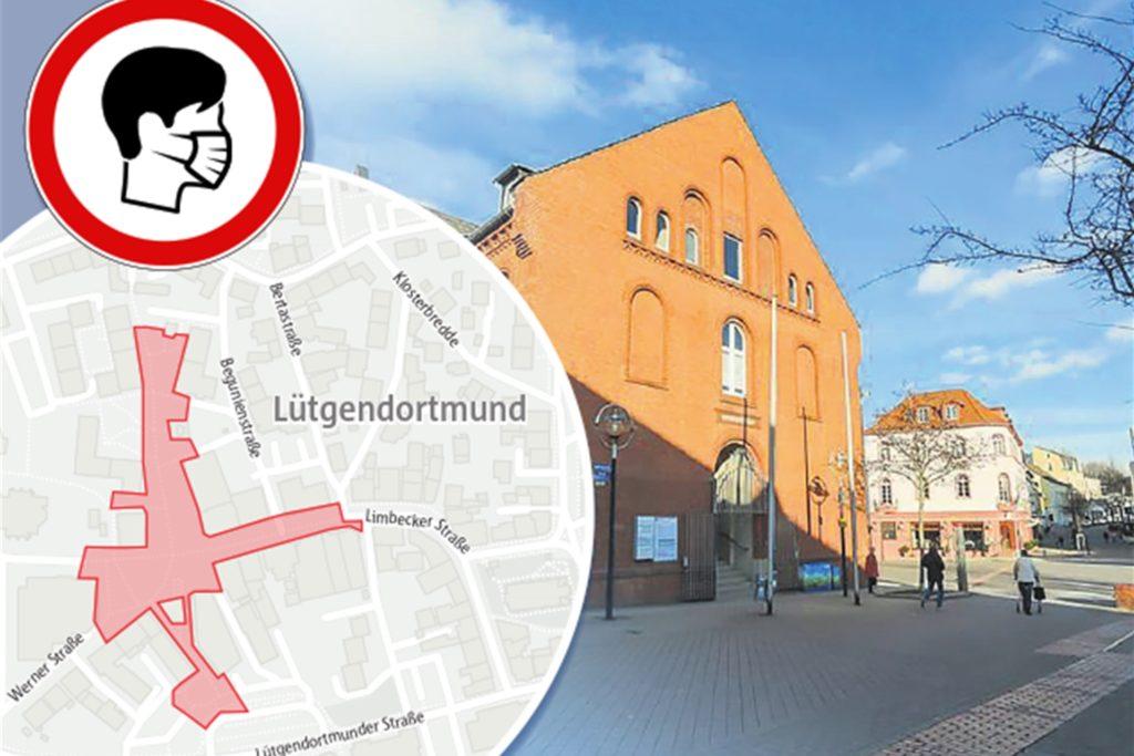 In Lütgendortmund gilt die Maskenpflicht in den Fußgängerzonen rund um die Bezirksverwaltungsstelle.