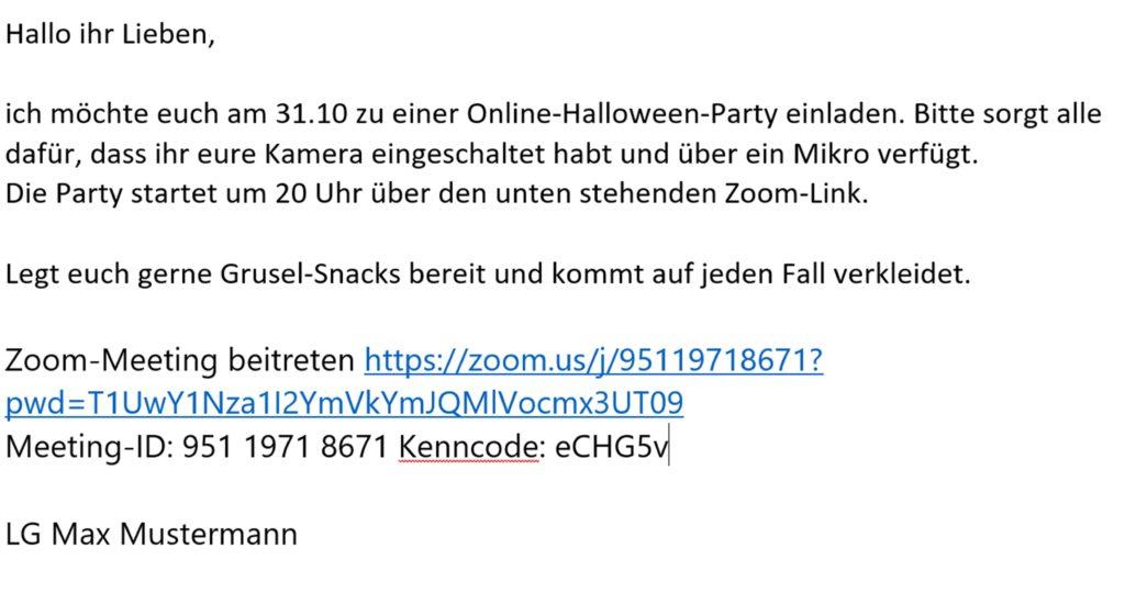 So könnte eine Einladung zu einer Online Halloween-Party aussehen.