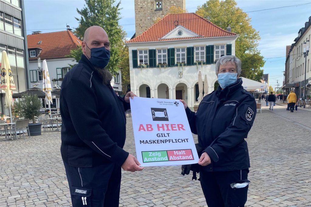 Maskenpflicht in der Fußgängerzone von Dorsten