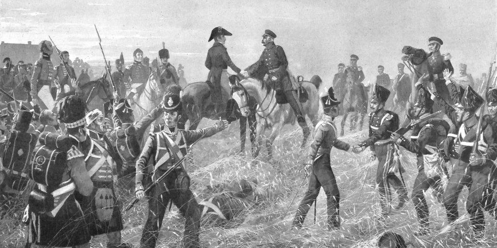 Blücher und Wellington bei der Schlacht von Waterloo 1815. An der nahm auch Caspar Diedrich Wehrenbold als freiwilliger Jäger im Münsterländer Landwehr-Infanterie-Regiment teil.