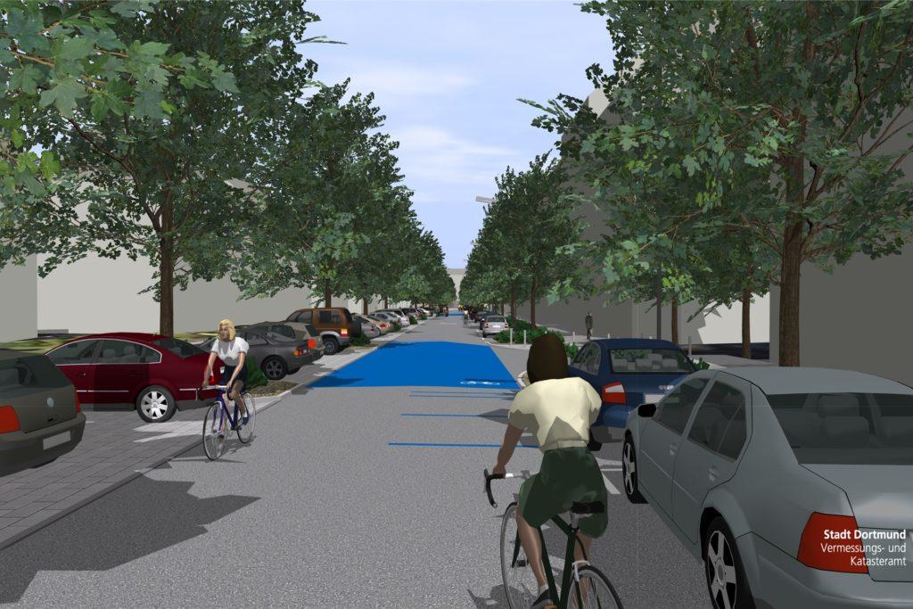 So sahen erste Entwürfe für die Große-Heim-Straße als Fahrradstraße aus.