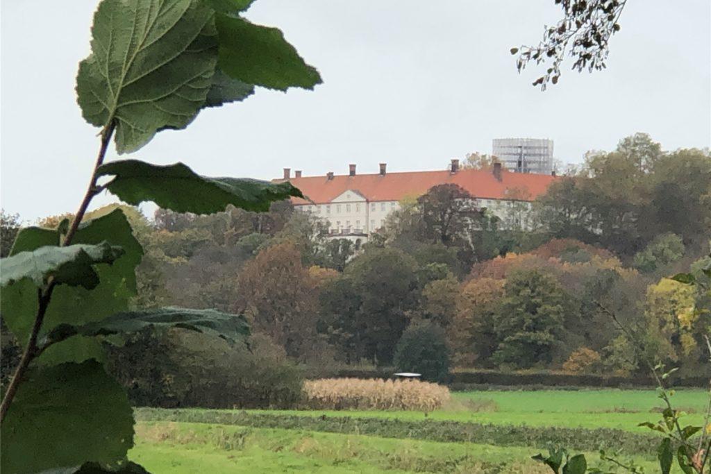 In der Ferne erhebt sich auf dem Wanderweg W8 das Schloss Cappenberg.
