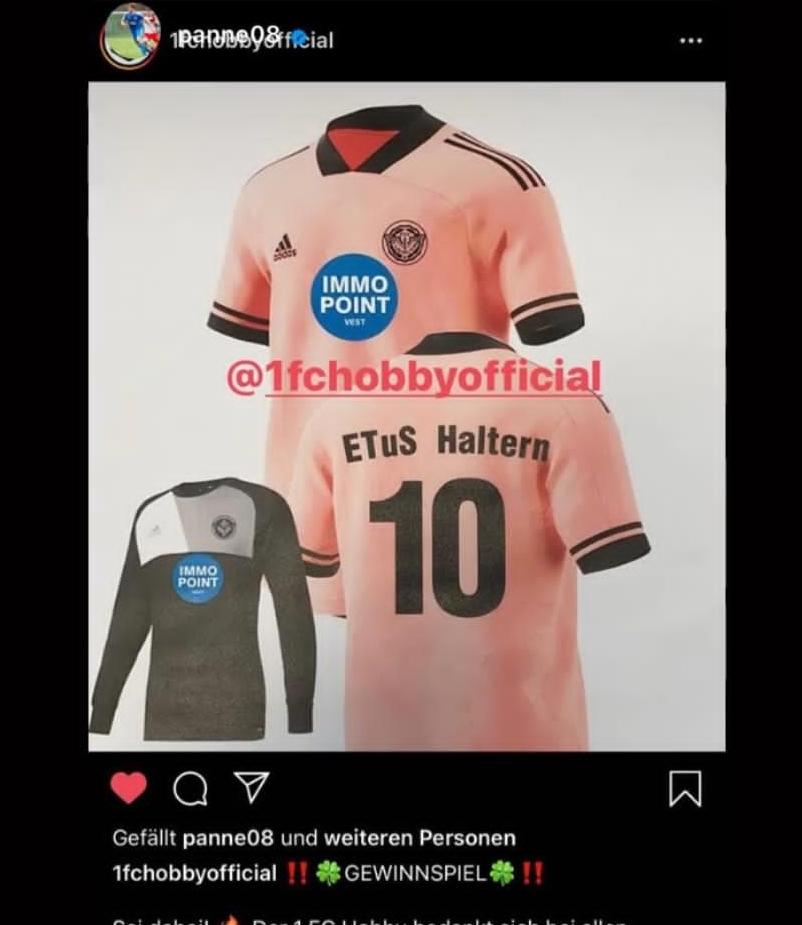 Auf seinem Instagram-Account teilte Kevin Pannewitz das Gewinnspiel des ETuS Haltern III.