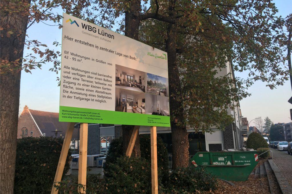 Ein Schild vor Ort weist auf die Pläne der WBG Lünen hin.