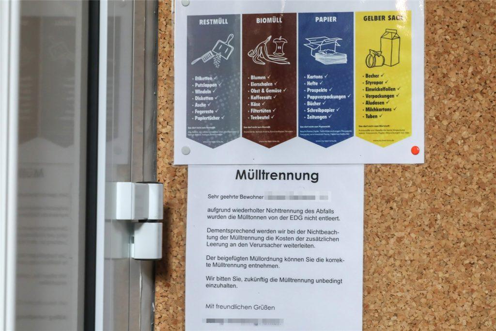 Nicht nur in großen Wohnanlagen wird falsch getrennt: Hinweisschild in einem Hausflur im Saarlandstraßen-Viertel.