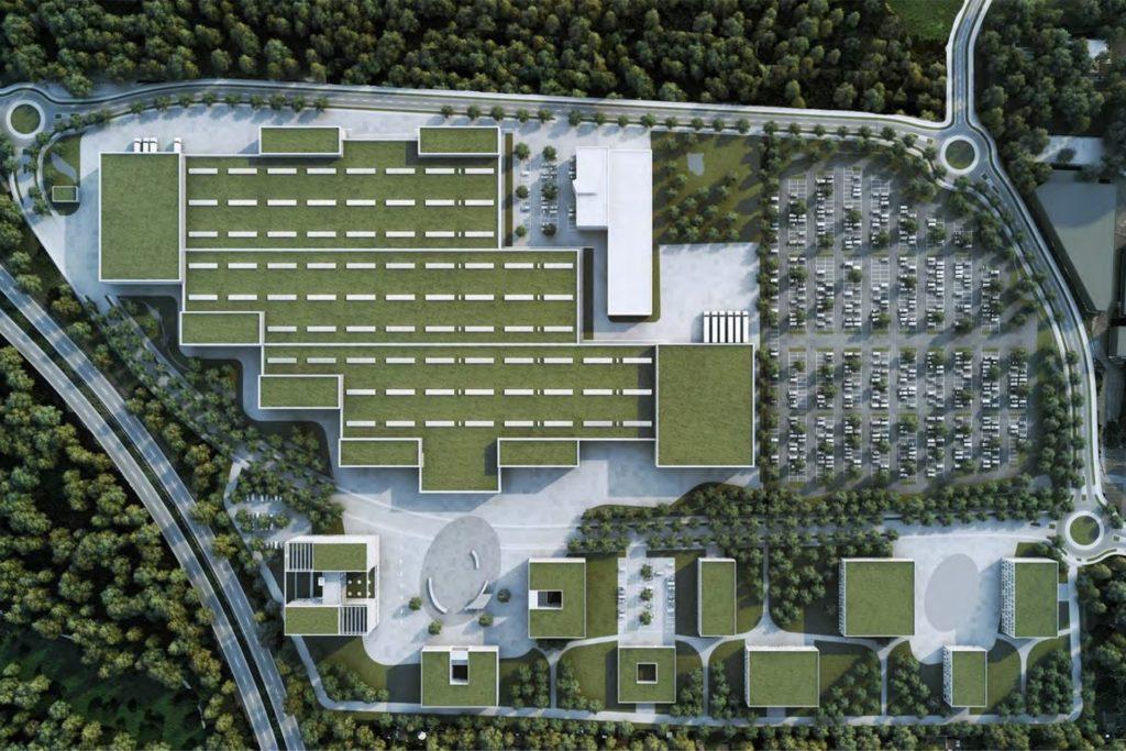 So sieht der Wilo-Campus von oben aus. Die neue Straße mit den drei Kreisverkehren führt im Osten und Norden am Werksgelände vorbei.