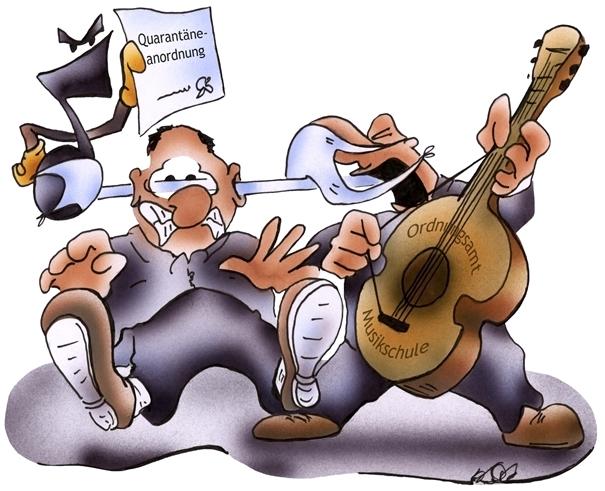 Auch unser Karikaturist hat sich mit der Abordnung der Musikschullehrer beschäftigt.