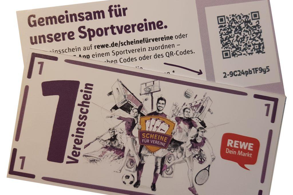 """So sehen die """"Vereinsscheine"""" aus, die jeder Rewe-Kunde bei einem Einkauf pro 15 Euro Wert erhält."""