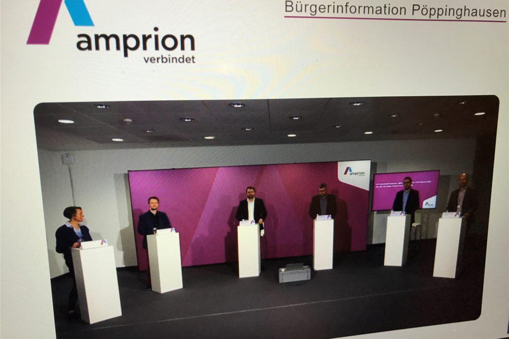 Ein Moderator und fünf Amprion-Experten im Raum, ein Jurist per Video zugeschaltet: Diese Runde beantwortete die Fragen der Pöppinghausener zum Ausbau der Stromleitungen und Umspannanlage auf 380 kV.