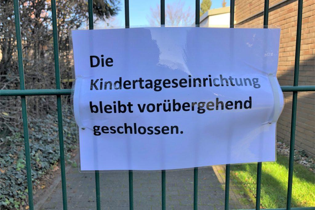 Wegen eines Coronafalls ist der St.-Aloysius-Kindergarten am Schellenkai in Derne derzeit geschlossen