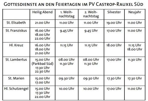 Die Gottesdienstzeiten über die Feiertage im Pastoralverbund Süd / St. Lambertus. Besucher müssen sich vorher anmelden.