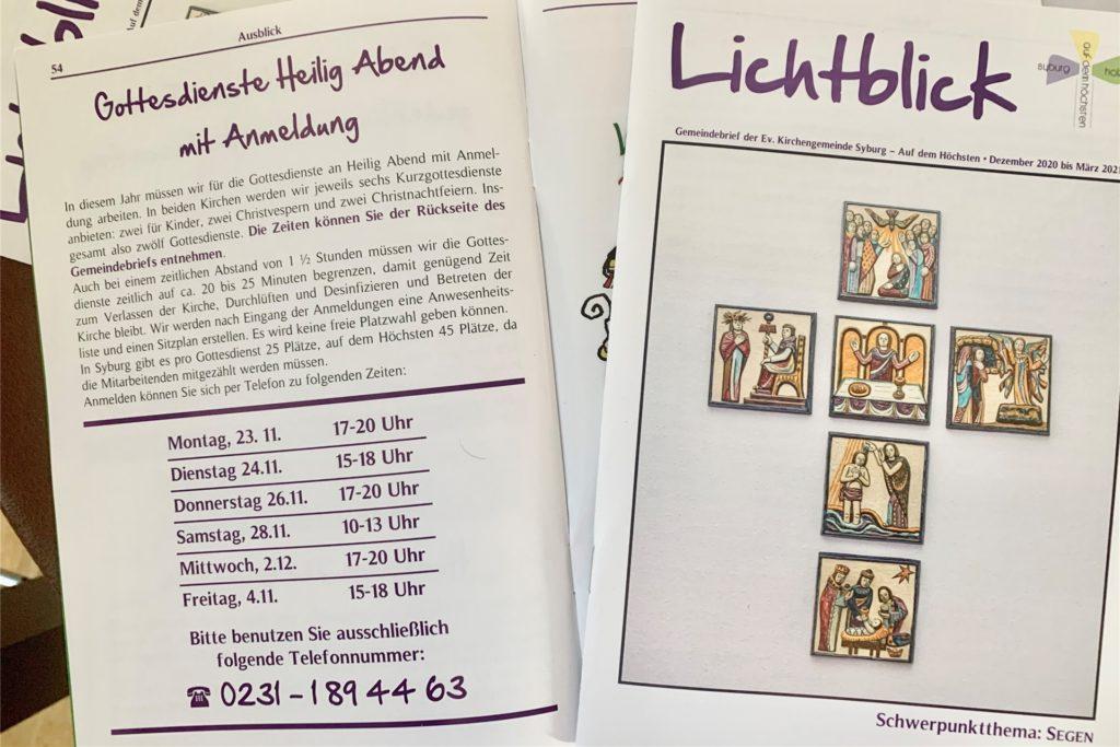 Informationen zu den Gottesdiensten gibt es auch im Gemeindebrief.