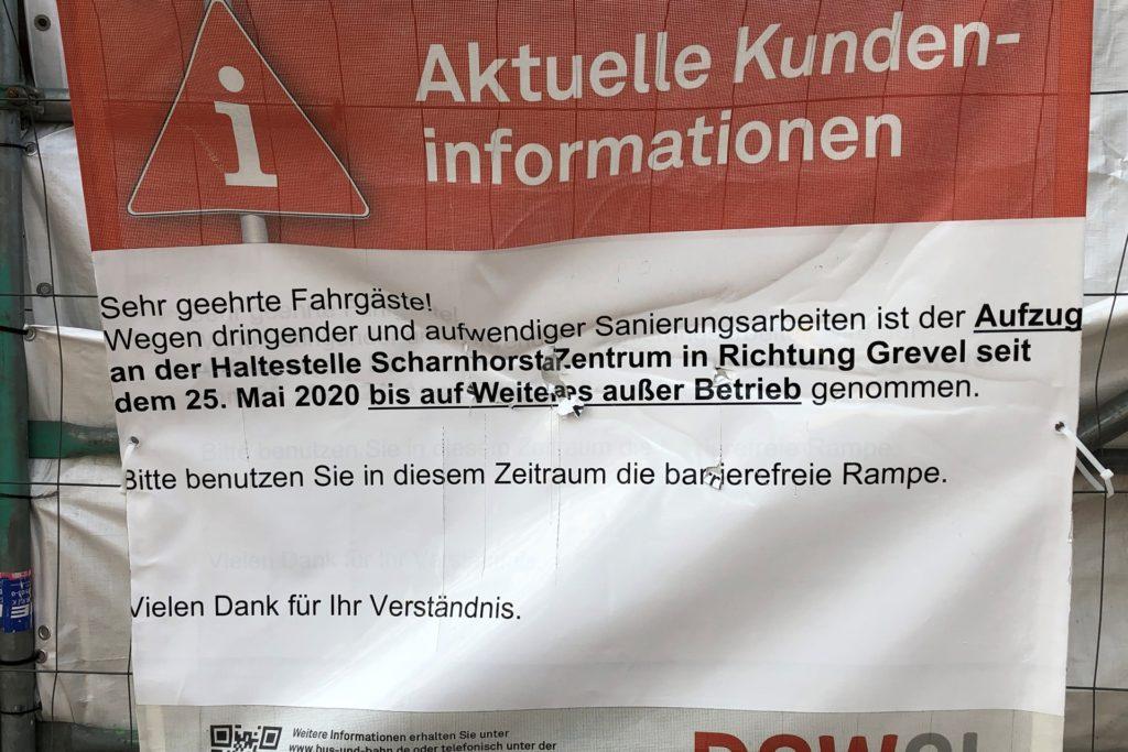 Mit diesem Plakat informiert DSW21 über die Arbeiten am Aufzug