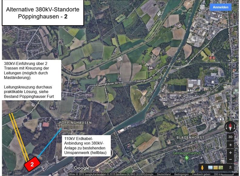 Als von der BI favorisierte Standort ist der König-Ludwig-Hafen (2) vorgesehen. Von dort, so die Bürgerinitiative, könne man ein Erdkabel zur alten Umspannanlage verlegen. Die Oberleitungs-Trasse zum neuen Standort wäre fernab der Siedlung.